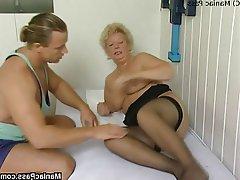 BBW, Blonde, Granny, Mature, Stockings