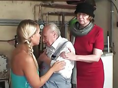 Granny, Hairy, Mature, Old and Young, Threesome