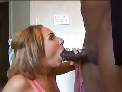 Blonde, Cum in mouth, Interracial