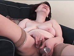 Brunette, Granny, Masturbation
