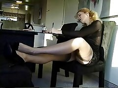Blonde, Foot Fetish, Secretary, Softcore, Stockings